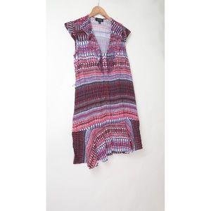 Saloni geo fit flare v neck dress UK 12 US 8